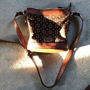 Fossil textile and leather bucket purse